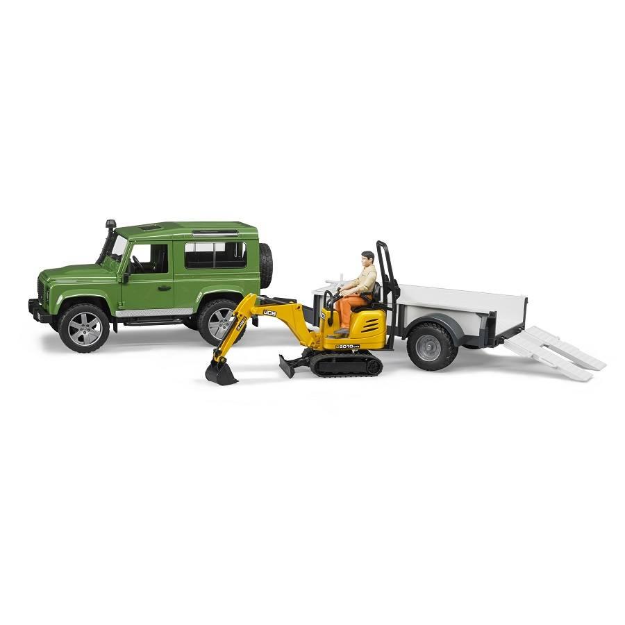 Bruder Bruder 2593 Land Rover Defender with Mini Excavator and Worker
