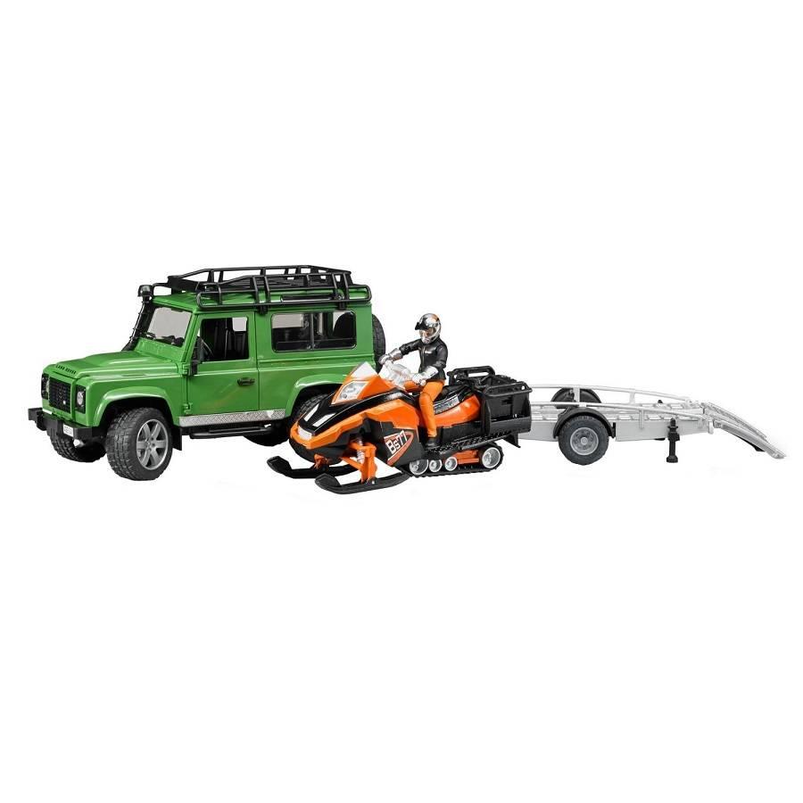 Bruder Bruder 02594 Land Rover Defender avec Remorque et Motoneige