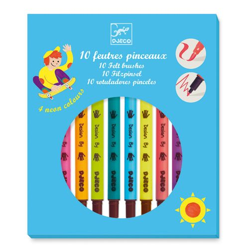 Djeco Djeco 08799 - 10 feutres pinceaux couleurs pop