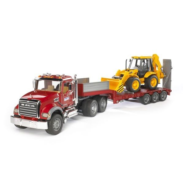 Bruder Bruder 02813 Mack Granite Flatbed Truck with JCB Backhoe Loader