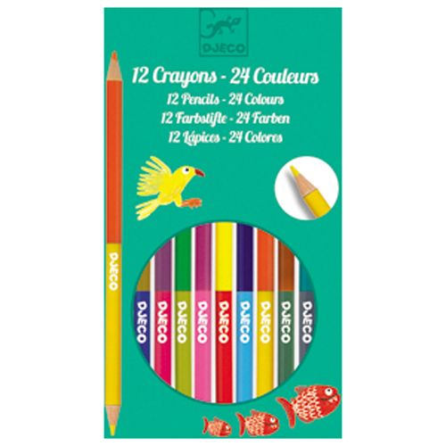 Djeco Djeco 09758 - 12 crayons de couleur double cotes