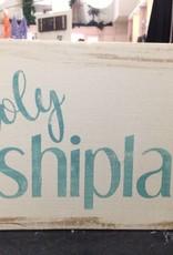 6x9 Holy Shiplap Teal/Cream Sign