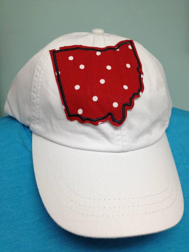 Plaid Ohio Hat Red Polka Dot