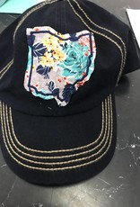 Rachel Ohio Plaid Navy Blue w/ Tan Stitching Baseball Hat Rachel