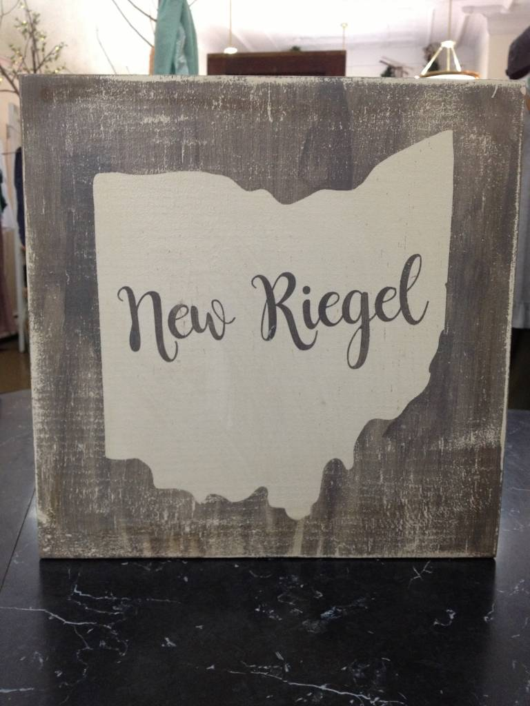 New Riegel 11.5x11.5 Grey/Cream Sign