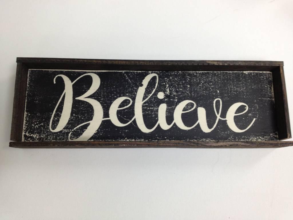 4X12 Believe Black Framed Sign