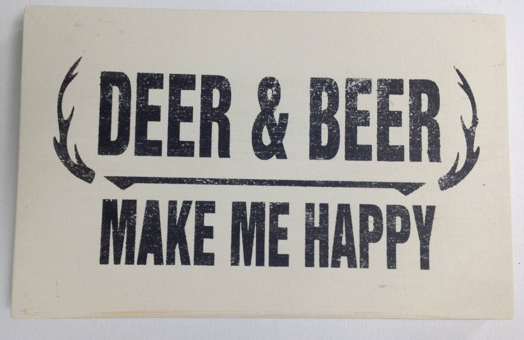 6x9 Deer & Beer Cream Sign