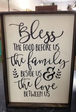 9x13 Bless the Food Framed Sign