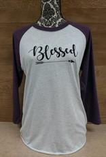 Blessed Purple Baseball T