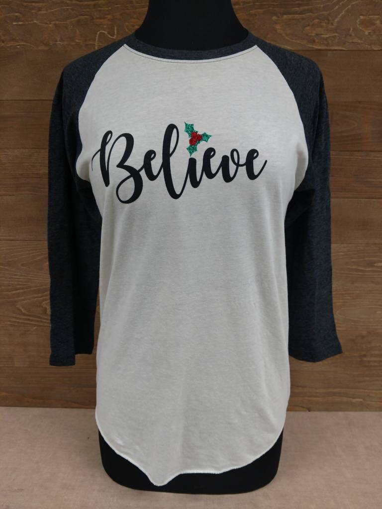 Believe Holiday Baseball Tee