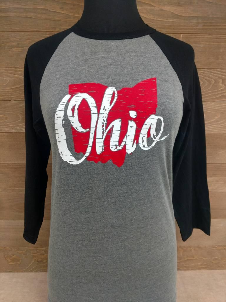Ohio Gray and Black Baseball Tee