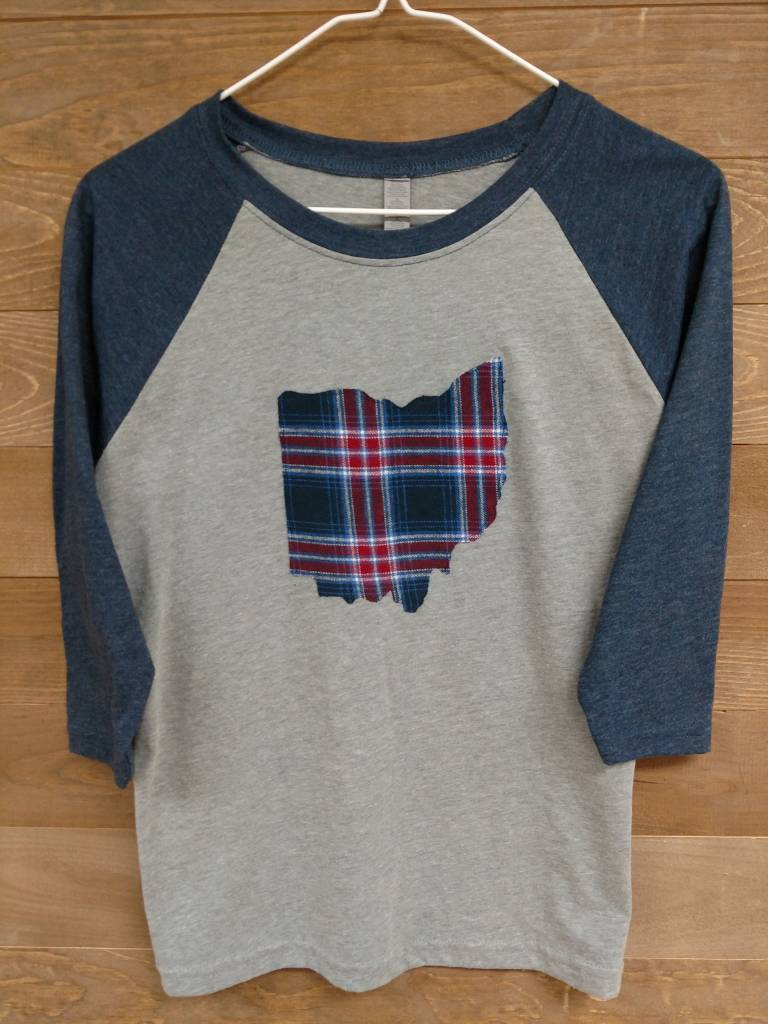 Kids Ohio Plaid Blue Sleeves