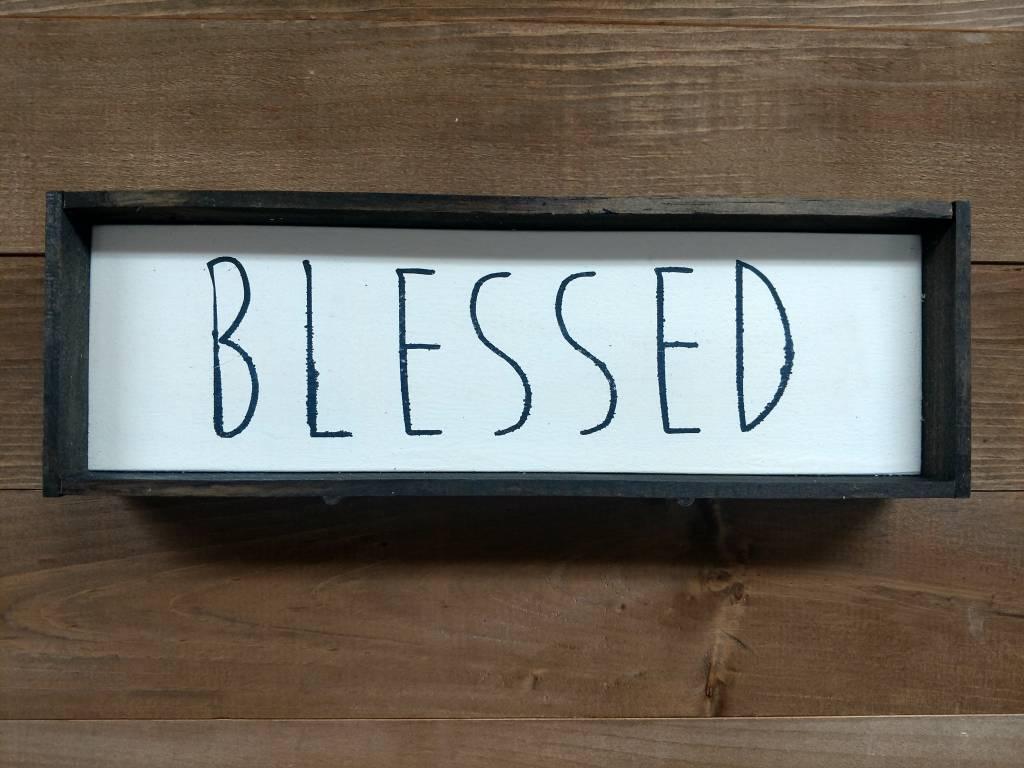 4x12 Blessed  Framed Sign