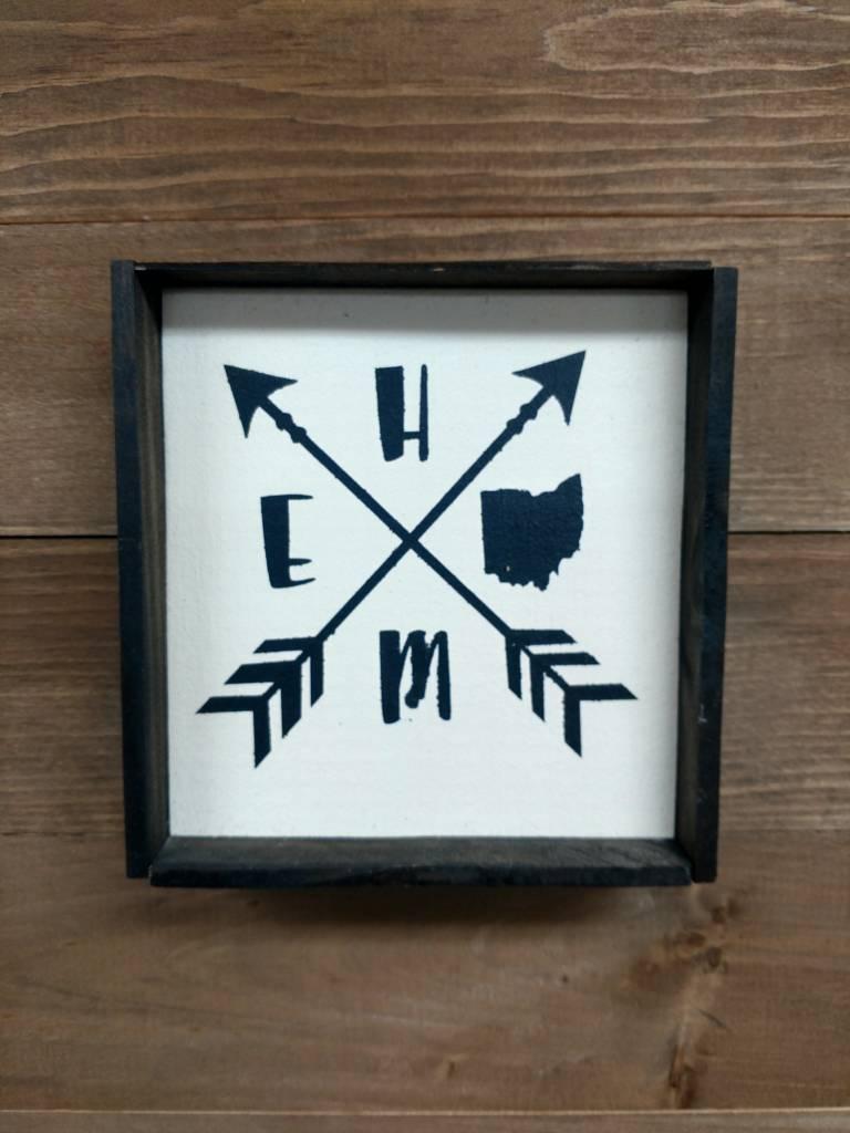 6X6 Home w/ Arrows Framed Sign