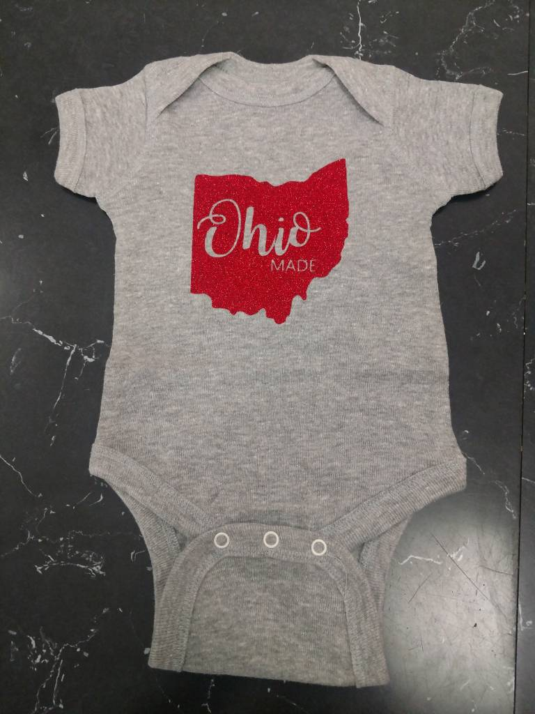 Baby Ohio Made Gray/Red Glitter Onesie