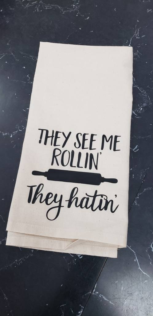 They See me Rollin' Tea Towel