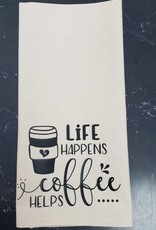 Life Happens Coffee Helps Tea Towel