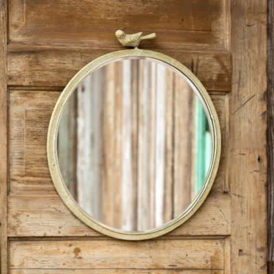"""18"""" RUSTIC MIRROR WITH BIRD DETAIL"""