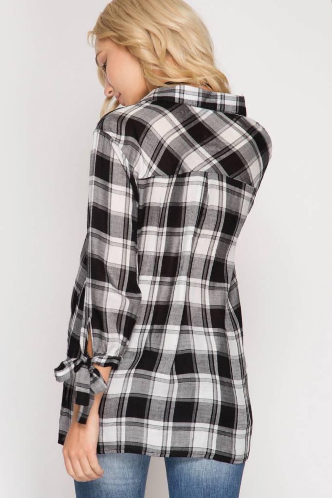Long Sleeve Surplice Plaid Top w/ Sleeve Ties