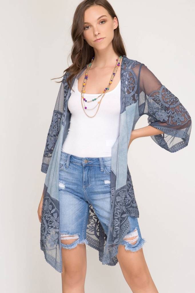 Half Sleeve Embroidered Mesh Cardigan One Size