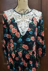 Black Floral Crochet Peplum Blouse
