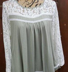 Sage Crochet Sleeve Blouse