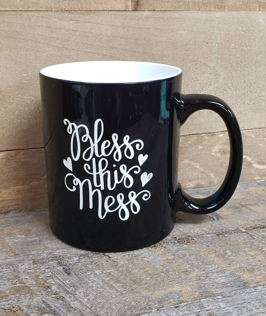 BLESS THIS MESS BLACK MUG