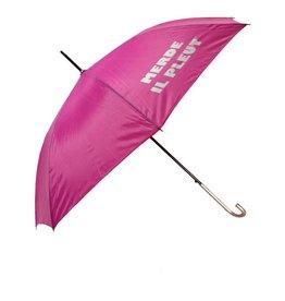 CarefulPeach Pink Full Length Umbrella- White text, fiberglass handle