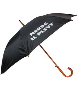 CarefulPeach Black Full Length Umbrella- wood, white text