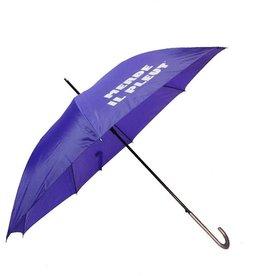 CarefulPeach Purple Full Length Umbrella- fiberglass, white text