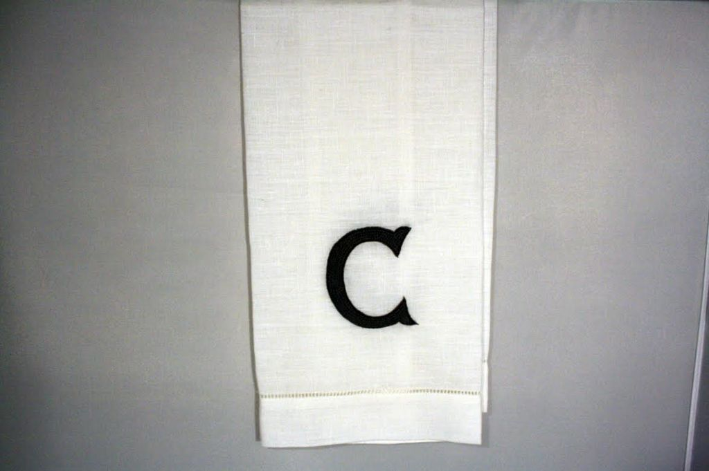 "Wedding Registry Linen Hand Knotted Hand Towel  ""C""- Brittney & Caleb's registry"
