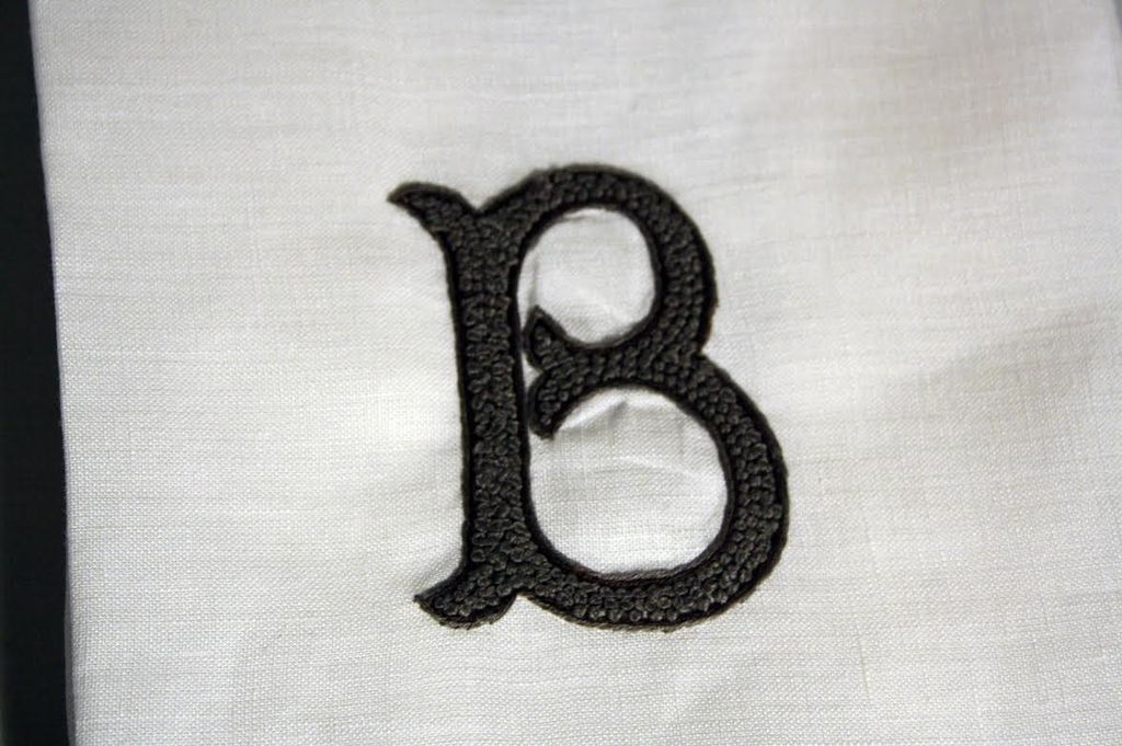 "Wedding Registry Linen Hand Knotted Hand Towel  ""B""- Brittney & Caleb's registry"