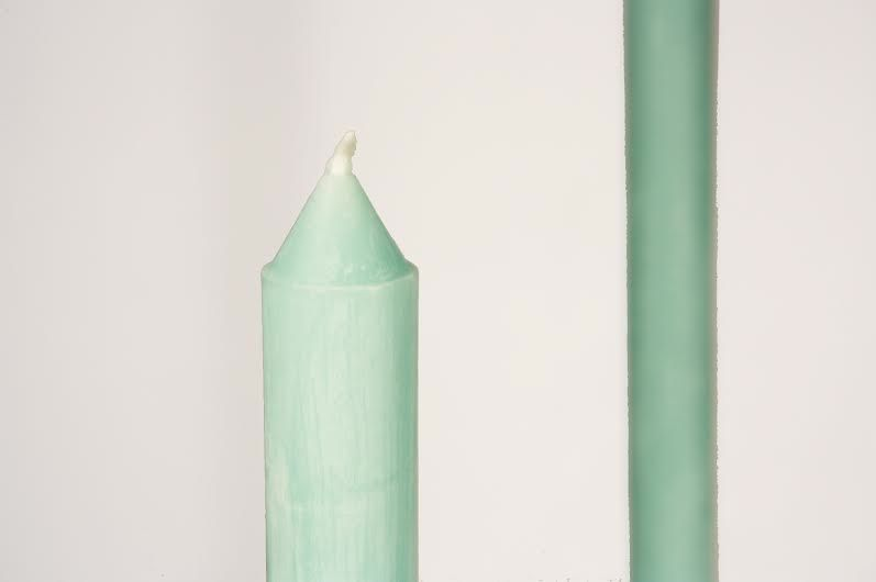 """Beeswax 11"""" Taper Candles in Aqua- Michelle Brewer"""