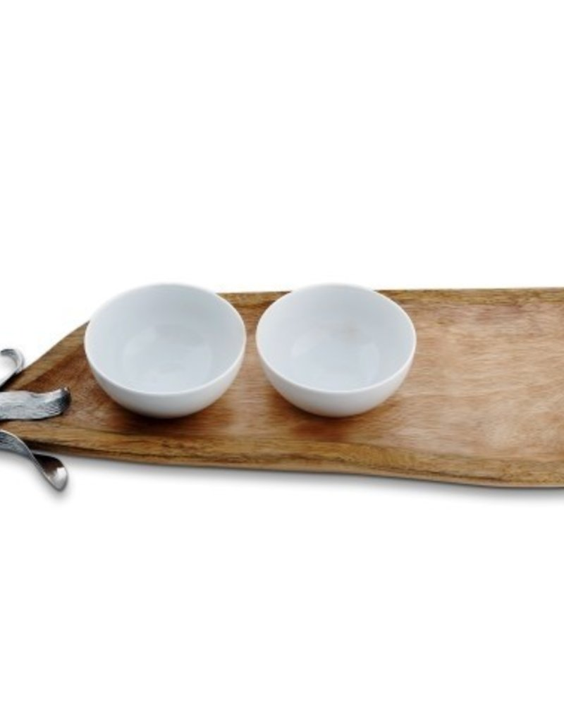 Pea Pod Tray with Dip Bowls