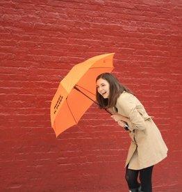 CarefulPeach Orange Full Length Umbrella- fiberglass; black text