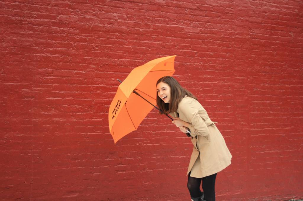 CarefulPeach Orange Full Length Umbrella