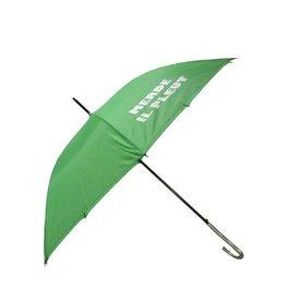 CarefulPeach Lime Green Full Length Umbrella- White text & fiberglass handle