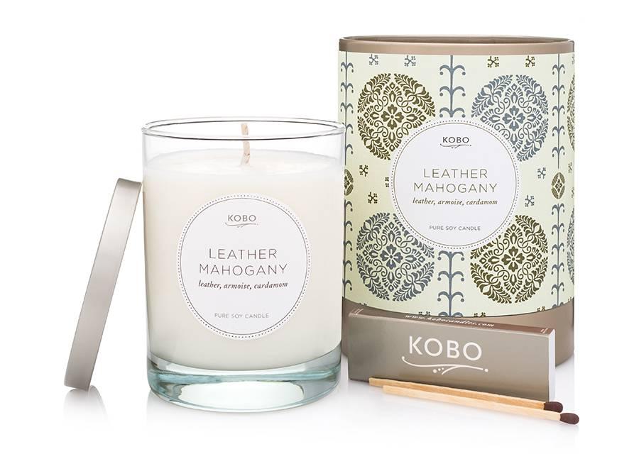 Kobo Leather Mahogany Soy Candle