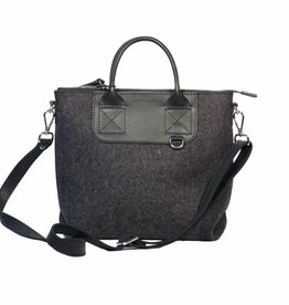 Bedford Crossbody Charcoal Felt w/  Black Leather