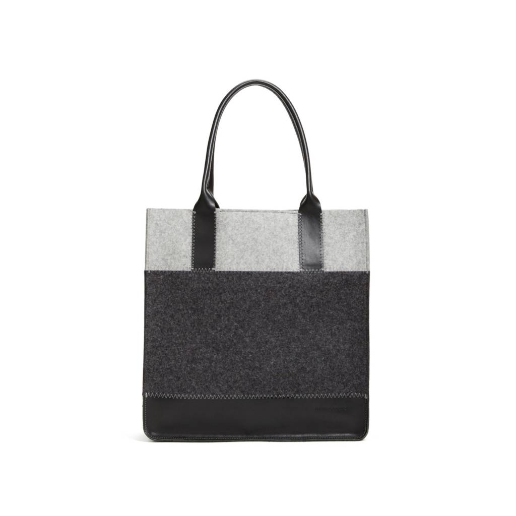 Graf & Lantz Jaunt Tote Granite/Charcoal felt w/ Black Leather