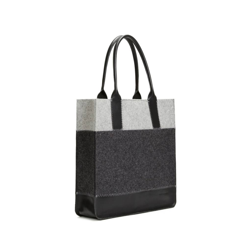 Graf & Lantz Jaunt Tote Granite/Charcoal felt w/ Black Leather