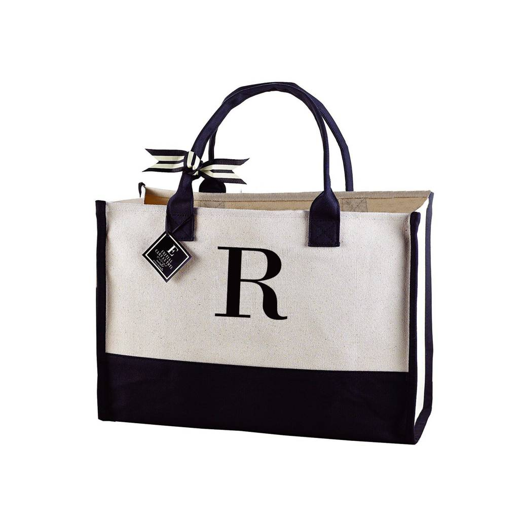 R-Initial Canvas Tote