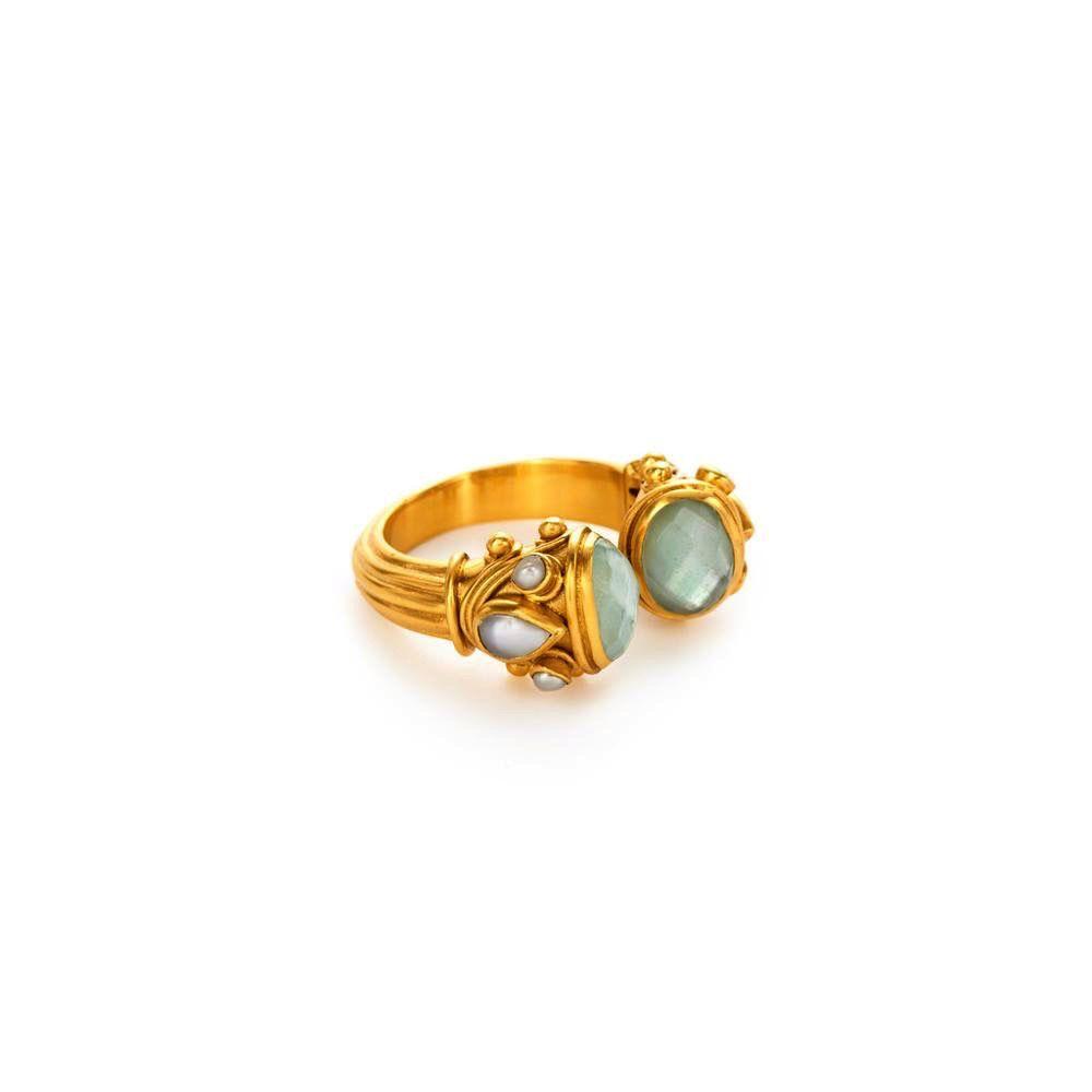Aquamarine Blue and Pearl Ring