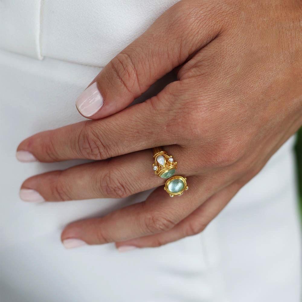 Julie Vos Aquamarine Blue and Pearl Ring