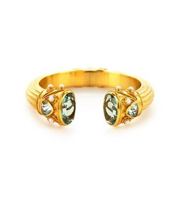 Aquamarine Byzantine Gold Cuff