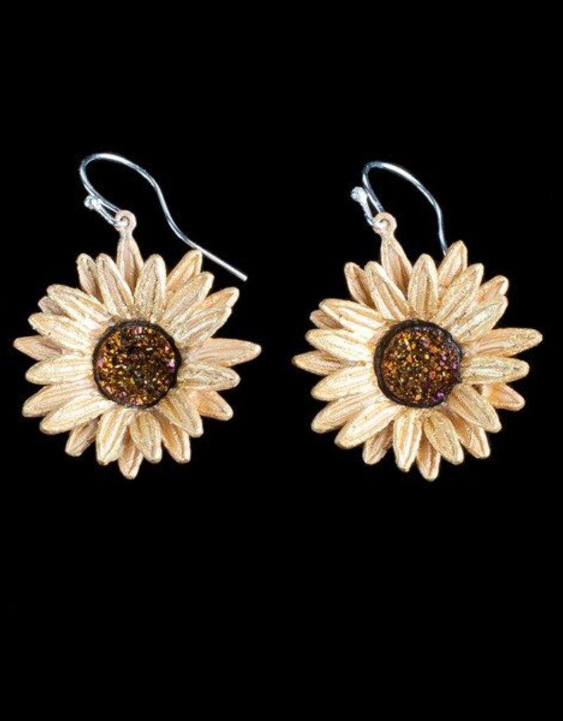 Sunflower Wire Drop Earring