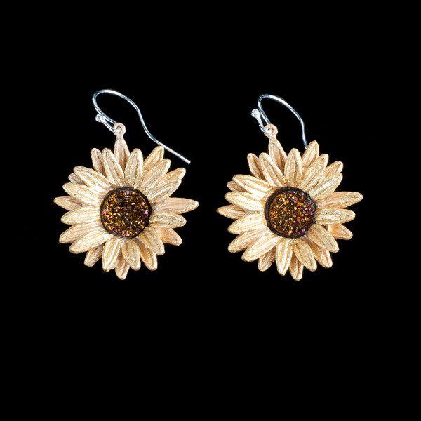 Michaud Silver Seasons Sunflower Wire Drop Earring