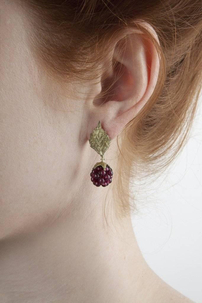 Michaud Silver Seasons Raspberry Post Leaf Earring