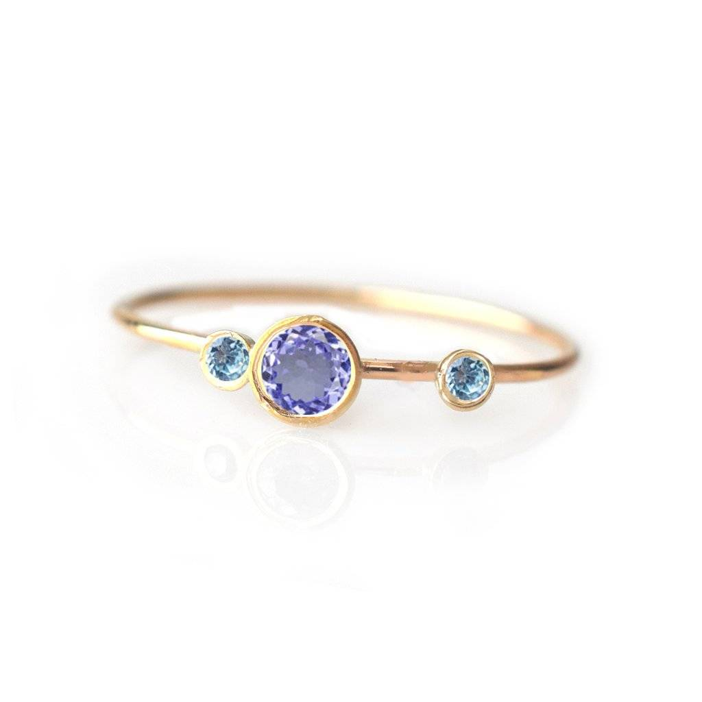 La Kaiser Tanzanite and Aquamarine Adele Ring, Size 7