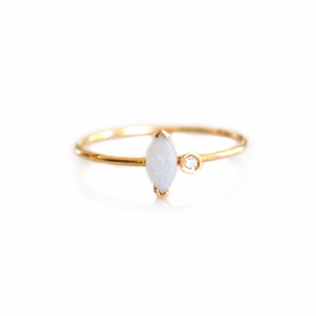 La Kaiser 14KT Gold Opal and Diamond Marquise Ring, Size 7